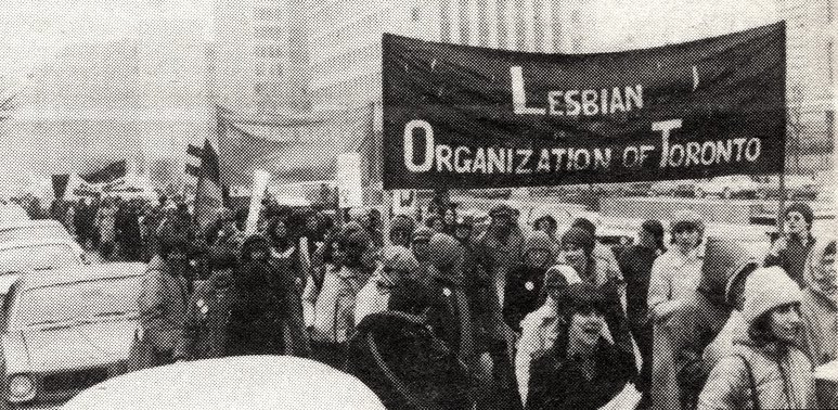 Loot marchers on College Street Toronto. Image courtesy of the Canadian Lesbian and Gay Archives